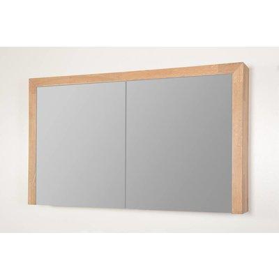 Sanitairstunthal spiegelkast natural wood 120 cm breed met 2 deuren inclusief stopcontact en schakelaar
