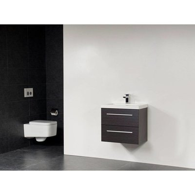 Sanitairstunthal xxs badmeubel 60 x 38 cm kunstmarmer wastafel met 1 kraangat in de kleur black wood