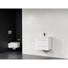 Sanitairstunthal xxs badmeubel 60 x 38 cm kunstmarmer wastafel met 1 kraangat in de kleur glans wit
