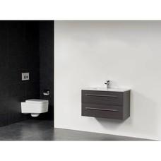 Sanitairstunthal smallline badmeubel 80 x 38 cm keramische wastafel met 1 kraangat in de kleur black wood
