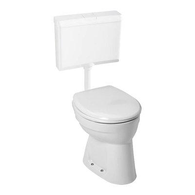 Sanitairstunthal verhoogde +6 staande pk vlakspoel closet set compleet met reservoir en toiletzitting