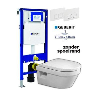 Villeroy en Boch Complete toiletset zonder spoelrand met Geberit reservoir met drukplaat en softclose / quick release toiletzitting