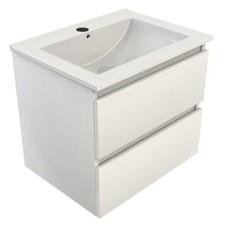 Sanitairstunthal Just wastafelonderkast 60x46 cm.2x lade met keramische wastafel wit gelakt