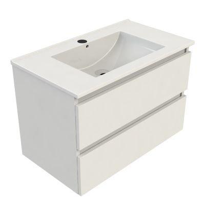 Sanitairstunthal Just wastafelonderkast 80x46 cm.2x lade met keramische wastafel wit gelakt