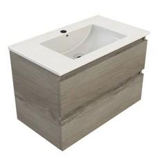 Sanitairstunthal Just wastafelonderkast 80x46 cm.2x lade met keramische wastafel zilver eiken