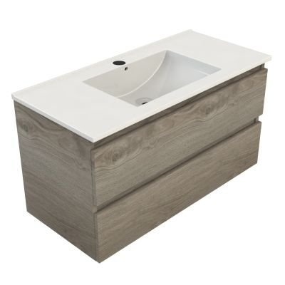 Sanitairstunthal Just wastafelonderkast 100x46 cm.2x lade met keramische wastafel zilver eiken
