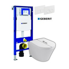 Sanitairstunthal Complete verkorte toiletset Designo met Geberit reservoir met drukplaat en softclose / quick release toiletzitting