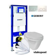 Sanitairstunthal Complete vlakspoel toiletset met Geberit reservoir met drukplaat en softclose / quick release toiletzitting