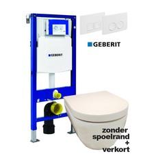 Sanitairstunthal Complete verkorte en spoelrandloze set Designo met Geberit reservoir met drukplaat en softclose / quick release toiletzitting