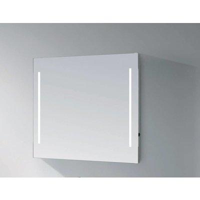 Sanitairstunthal spiegel 100 x 70 cm aluminium met indirecte verlichting aan de zijkant