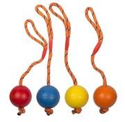 Duvo+ Rubber bal met slingertouw
