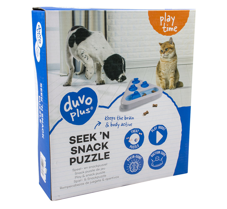 Seek `n snack puzzle - triangel Wit/blauw 24x24x5,5cm