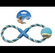 Knoop Katoen 8- Trekring Met Tennisbal 28cm grijs/blauw