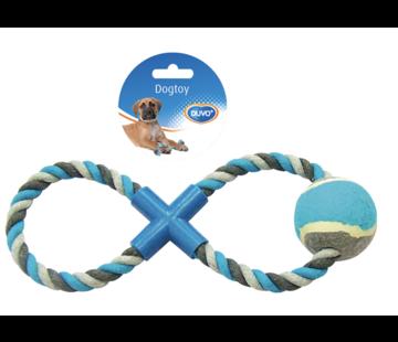 Knoop Katoen 8- Trekring ZONDER Tennisbal 28cm grijs/blauw