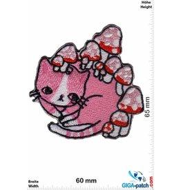 Kids Pink Cat - mushrooms