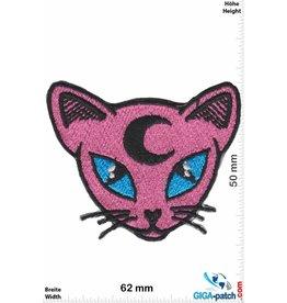 Cartoon Pink Cat - Head - Moon
