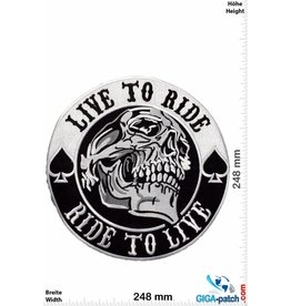 Biker Live to Ride - Ride to Live - Skull -  25 cm - BIG