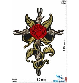 Oldschool Stacheldraht Rose Kreuz