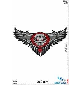 Skull Totenkopf - Skull - Fly - rot silber - 28 cm - BIG