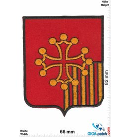 Historical  Cross - 5 beams - gold red