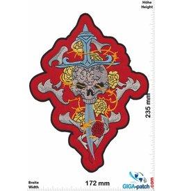 Skull Skull - sword - red  - 23 cm - BIG