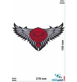 Skull Totenkopf - Skull Head Fly - red silver- 27 cm