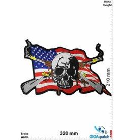 Cowboy Skull Cowboy - USA Flag - old rifles-  32 cm