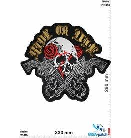 Biker Ride or Die - Totenkopf mit Rose und Revolver - 33 cm - BIG