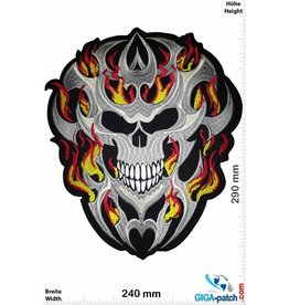 Biker Totenkopf in Flammen - 29 cm - BIG