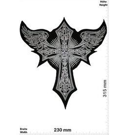 Kreuz - Kruzifix- Angel Wing - black silver- 31 cm