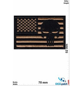 Punisher Punisher - USA -braungold  - Klett Patch mit Untergrund - HQ