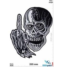 Bikerpatch Fuck You - Skull - 26 cm