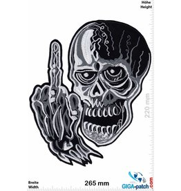 Bikerpatch Fuck You - Totenkopf - 26 cm
