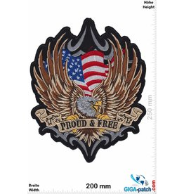 Bikerpatch Proud & Free - Adler USA - 25 cm