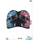 Totenkopf Biker skull - 2 way - red blue - HQ
