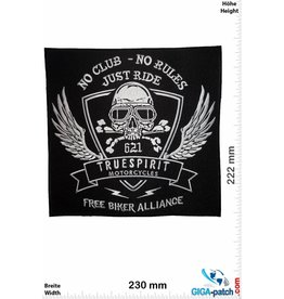 No Club - No Rules - Just Ride - True Spirit Motorcycles-  23 cm