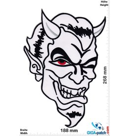 Bikerpatch Devil Skull - white - 26 cm