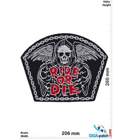Bikerpatch Ride or Die -   Skull - 26 cm
