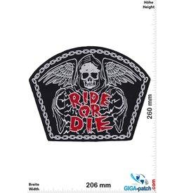 Bikerpatch Ride or Die -   Skull - 26 cm