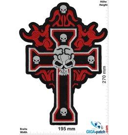 Bikerpatch Totenkopf - Kreuz  - Skull - 27 cm