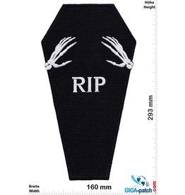 Bikerpatch Sarg - RIP  - Skull - 29 cm