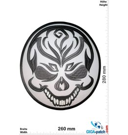 Bikerpatch Clown  Skull - grey  - 28 cm