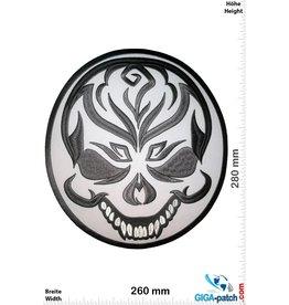 Bikerpatch Totenkopf - Clown  - Skull - grau - 28 cm