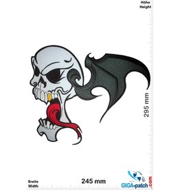 Bikerpatch Totenkopf - Fledermaus  - Skull -  29 cm
