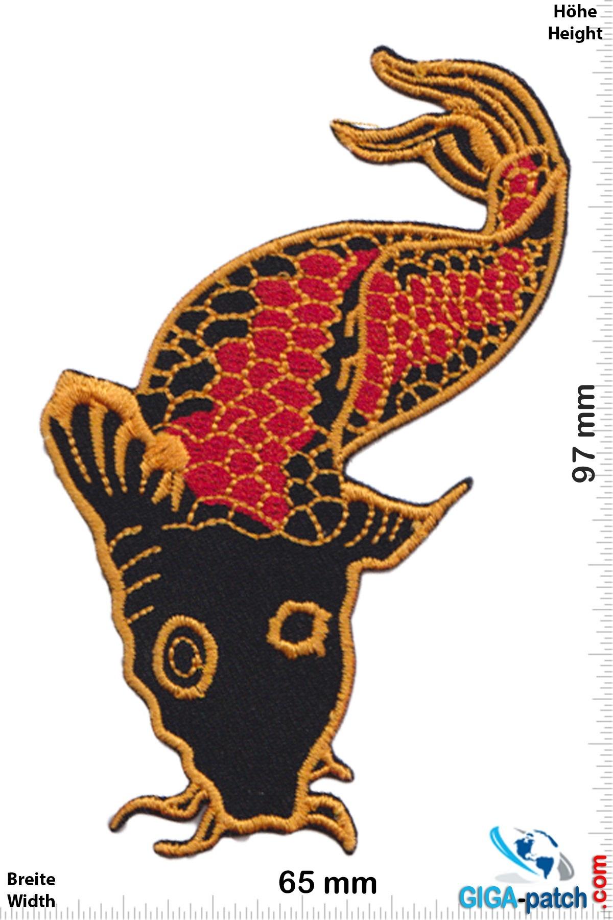 Fisch Fish Fish Fisch Schwarz Rot Gold Koi Patch Aufnäher