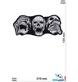 Totenkopf Skull - 3 monkeys - do not hear hear talk - 31 cm