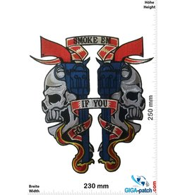 Totenkopf Skull - Gun - Smoke em if you Got em  - 25 cm - BIG