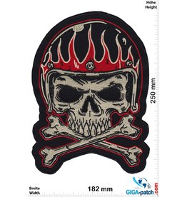 Cafe Racer Skull - Helmet in Flame - Cafe -Racer - 25 cm