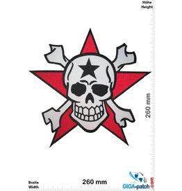 Totenkopf Skull - red Star  - 26 cm