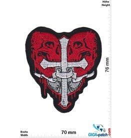 Skull Kreuz mit 2 Totenköpfe - crucifix